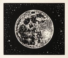 Linoleum Block print on Rives BFK Paper, 6 x 2009 This and two other prints were made for the show The Walking Man and the Moon. Art And Illustration, Art Tumblr, Linoleum Block Printing, Moon Drawing, Inspiration Art, Linocut Prints, Printmaking, Art Photography, Photography Aesthetic