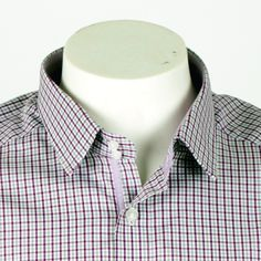 New Age Banker in Purple Gingham   Gingham checks in purple with contrast tonal tape and double button at the neck. Ideal for a mid week wardrobe change