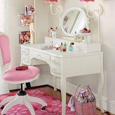Daughters room! Lilac Desk & Vanity Mirror Hutch