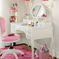 Daughters room! Lilac Desk & Vanity Mirror Hutch