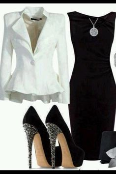 This said office wear when I repined it ...maybe w/ different shoes..but u could wear that dress and those shoes to a cocktail or dinner party after the office.. Wear different shoes to the office and lose the Blazer for dinner/ drinks !