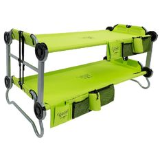 Portable bunk bed for kids with storage compartments. Perfect for camping or sleepovers!