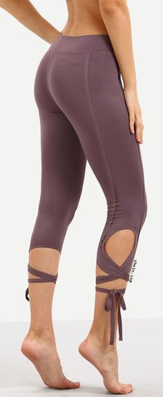 Purple Hollow Tie Skinny Leggings. Two colors available!