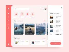 Travel Dashboard UI designed by Anastasia Eletskaya. Web Dashboard, Ui Web, Dashboard Design, App Ui Design, User Interface Design, Design Design, Flat Design, Google Material Design, Instructional Design