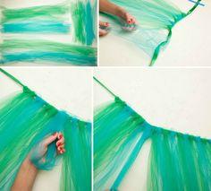 Pfau Kostüm selber-machen-tutu-herstellen-ohne-nähen-netzstoff-tüll-knoten