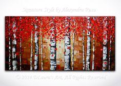ORIGINAL Abstract Red Birch Trees Painting Impasto von DLaurasArt