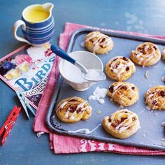 Bird's custard pinwheels - this egg-free recipe uses Bird's Custard Powder which was invented in 1837 and is still a trusty store cupboard staple today. They will make a great end to the meal for both adults and children. Best Pastry Recipe, Pastry Recipes, Baking Recipes, Dessert Recipes, Great British Bake Off, British Bake Off Recipes, Bird's Custard, Custard Powder, Salted Caramel Chocolate Tart