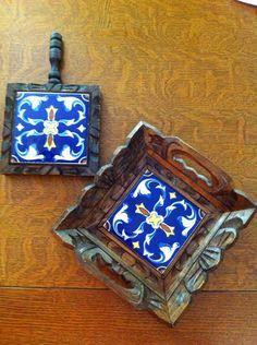 Mexican trivet and tray set hand carved. Me recuerdan de mi tia Tere