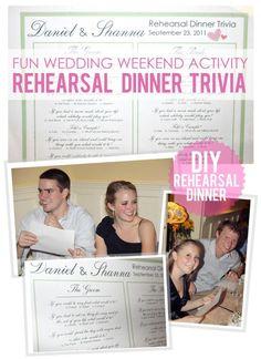 Rehearsal dinner trivia... such a cute idea :)