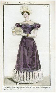 Costume Parisien 1824. Regency fashion plate.