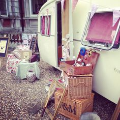 Clara the photobooth caravan all set up - see where the pics instantly print out of her window? www.photoboothcaravan.co.uk