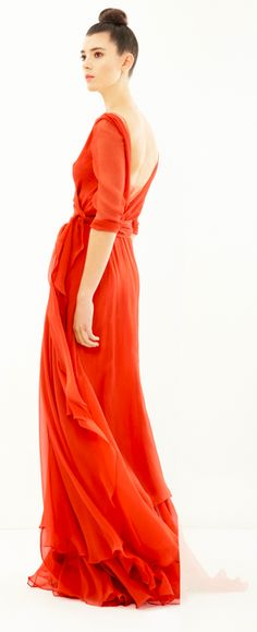 Coral gown http://www.cortana.es/en/collection/wrap-around-dress-in-silk-bambula/