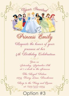 DIY Disney Princess Party | ... : Personalized Royal Princess Birthday Invitation - DIY Printable