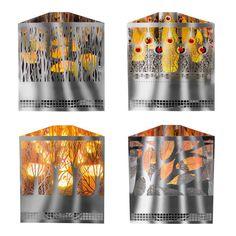 Apando Halogenlampe Flammenleuchte Edelstahl eckig 30x26x13cm - zur Auswahl
