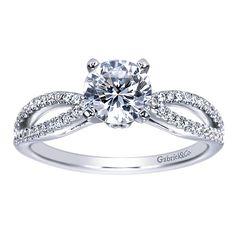 14k White Gold Diamond Split Shank Engagement Ring