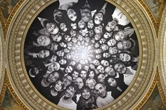 Portraits by contemporary artist JR, collected during the month of March 2014, are displayed under the dome of the Pantheon in Paris