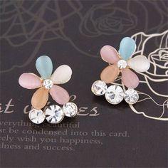 Czech Rhinestone Inlaid Opal Flower Design Ear Studs