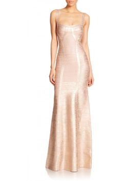 POSH GIRL Gold Foil Print Bandage Gown  An elegant, chic and modern gown gold foil print bandage construction, a-line skirt with spaghetti straps, full length back zipper. MSRP: $589