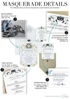 Masquerade Details - Ceci Johnson shows you how to incorporate a mask motif in your invitations