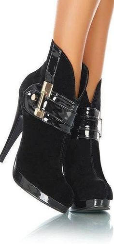 pinterest.com/fra411 #shoes - black ankle booties