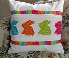 #Sew an adorable bunny pillow for #Easter!  Quick and easy #tutorial.