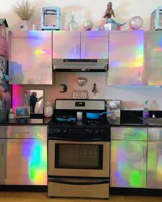 Beautiful Kitchens, Cool Kitchens, Home Decor Kitchen, Diy Home Decor, Pinterest Room Decor, Rainbow Kitchen, Aesthetic Bedroom, Cuisines Design, My Dream Home