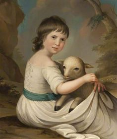 'Lady Elizabeth Penelope Crichton (1772-1797)', Anne Forbes, undated, Dumfries House Trust, Acc. DH.10.2011 (BBC Your Paintings) - Girl embracing a lamb in the folds of her dress, tied down the centre back as typical for children's dress throughout the 18th c, with sash ties at her waist