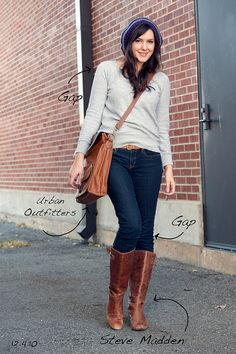 I love her style. If i were to wear a grey sweater n jeans id look frumpy. I need to learn how she pulls this off!
