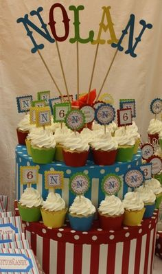 cupcake display - love the name via stick letters
