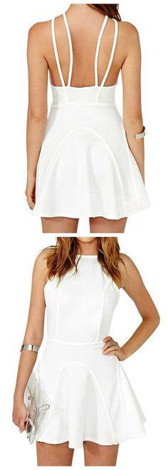 white splicing skater, dual shoulder straps dress