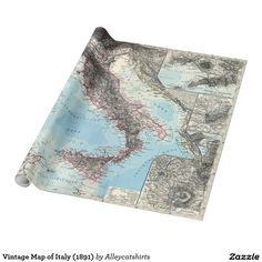 Vintage Map of Italy (1891) Wrapping Paper
