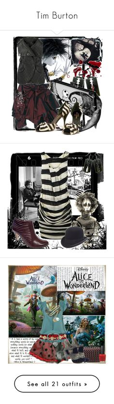 """""""Tim Burton"""" by fashionmefabulous ❤ liked on Polyvore featuring KING, Thomas Wylde, stripes, Leather, movie, gothic, razors, art, living room and alice in wonderland"""