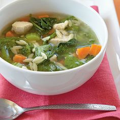 Traditional chicken noodle soup has to be on everyone's comfort-food list. Using orzo pasta makes a slight improvement over the original; you don't have to worry about long noodles falling off your spoon! With its absolutely classic flavors, this dish is great for a rainy day, a cold day, a sick day, or any day.