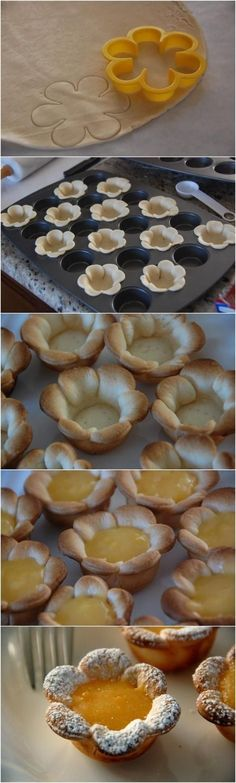Weddbook is a content discovery engine mostly specialized on wedding concept. You can collect images, videos or articles you discovered  organize them, add your own ideas to your collections and share with other people | Weddbook ♥ Flower shaped Mini Lemon Curd Tarts