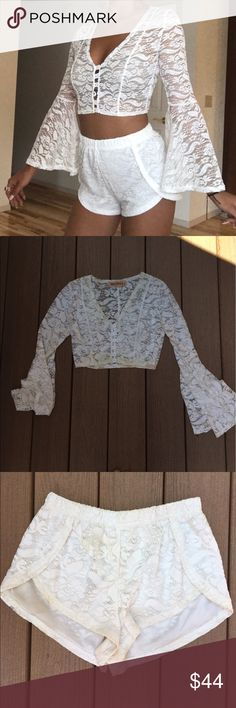 Reverse Lace Two Piece Set Only worn once to Coachella! Size: Medium but Fits: Small or Medium. 1st pic not mine but shows same exact outfit and shows it's fit well! Reverse Tops Crop Tops