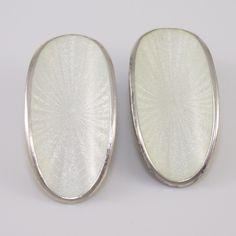Sterling Silver David Andersen White Enamel Clip On Earrings #DavidAndersen