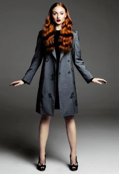 sheath dress with embellished coat and heels- hair and lipstick become accesories