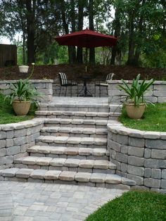 Image result for retaining wall stairs