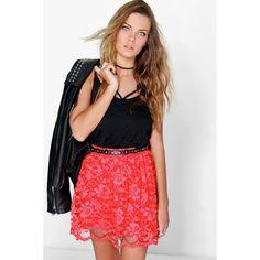 Boohoo Night Royah Full Lace Skater Skirt ($20) ❤ liked on Polyvore featuring skirts, poppy, mini circle skirt, embellished mini skirt, flared midi skirt, mini skirt and mini skater skirt