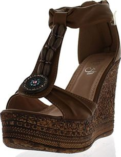 35ad24113 Refresh Grita02 Womens Beaded Platform Ankle Strap Cork Wedge Heel  SandalTan9   Click image to review