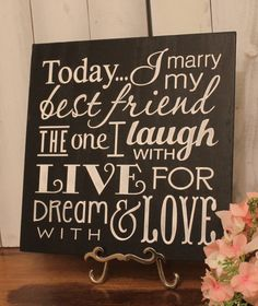 Today I Marry My Best Friend Sign/Wedding by gingerbreadromantic, $27.95