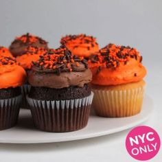 Halloween Cupcakes. Get yours from Eleni's New York, Find out more at our web site for candies, chocolates & cookies OR visit our HALLOWEEN ideas page at: http://www.allaboutcuisines.com/halloween #Halloween Ideas #Cookies