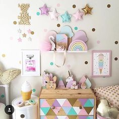 How adorable is this girls room? Add these confetti wall stickers for a beautiful wallpaper effect. Can you also spot our Wooden Camera Toy and Montessori Rainbow Blocks? Polka Dot Walls, Polka Dots, Polka Dot Room, Polka Dot Nursery, Girl Bedroom Designs, Bedroom Ideas, Bedroom Decor, Kids Wall Decals, Nursery Stickers