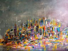 The waterfront - oil on panel original #oilpainting #waterfront #night #lights #contemporaryart