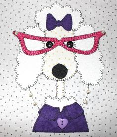 Fancy Poodle Girl wall hanging.  Dog quilt.