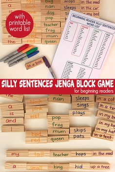 Hack your Jenga game or mega blocks for reading fun with your early or struggling reader. Great for revising sight words and CVC words, developing decoding skills and fluency. Learning Games, Classroom Activities, Kids Learning, Teaching Kids, Reading Games For Kids, Reading Activities, Baby Activities, Reading Resources, Teacher Resources