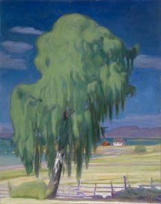 Harald Sohlberg (Norwegian, Hængebirken oil on canvas, 82 x 65 cm. Landscape Art, Landscape Paintings, Landscapes, Romanticism Paintings, Oil On Canvas, Canvas Prints, Antique Paint, Old Art, Summer Art