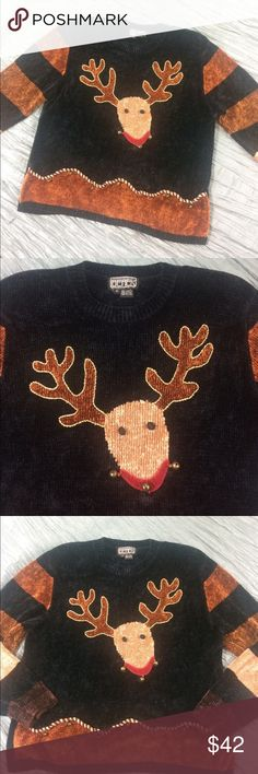 Berek Christmas sweater Rudolph jingle bells brown Vintage Christmas sweater by Berek by Takako Sakon. Soft silky feel. Embellished with jingle bells (one missing on bottom cord). Gold stitching around antlers. Red velvety nose. Pompom eyes. Very good condition. Black with brown and tan. Berek Sweaters Crew & Scoop Necks
