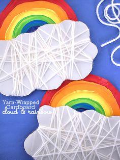 Cardboard Yarn-Wrapped Cloud and Rainbow Craft #StPatricksDay #Spring #kids