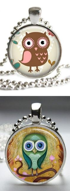 Whimsical Owl Glass Pendant Necklaces ♥